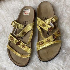 Betula by Birkenstock Gold Jewel Strap Sandals
